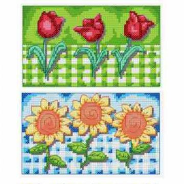 Gingham Tulips and Sunflowers # 605